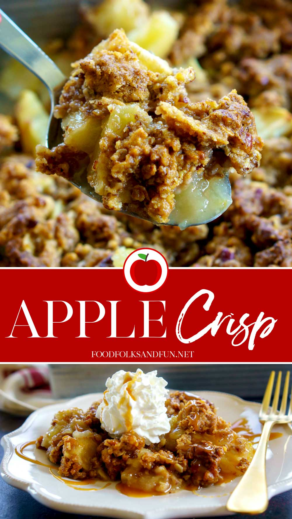 Apple Crisp is one of those classic desserts that is pure comfort food. Baked apples with a buttery crisp topping, caramel sauce, and melty whipped cream.  via @foodfolksandfun