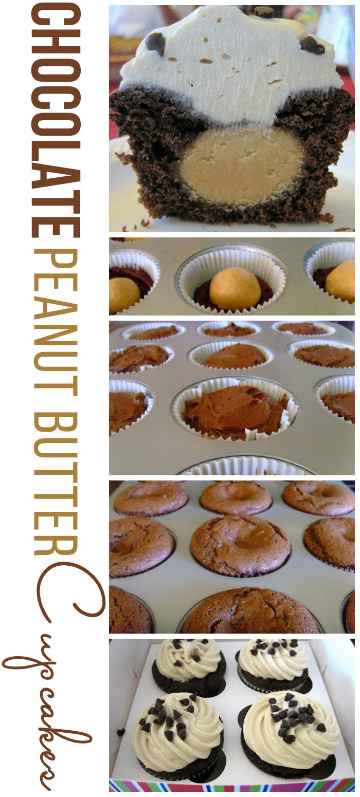 Chocolate Peanut Butter Cupcakes that are stuffed with a peanut butter bon bon and topped with peanut butter frosting.