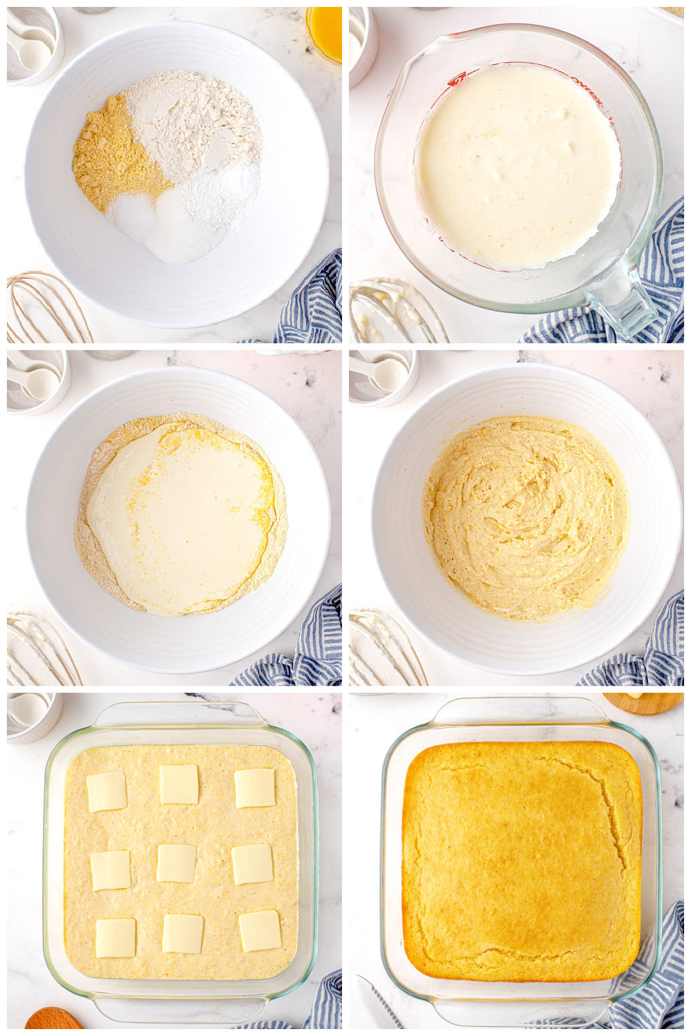 A picture collage of how to make cornbread without buttermilk.
