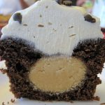 a close up of the inside of a Chocolate Peanut Butter Cupcake