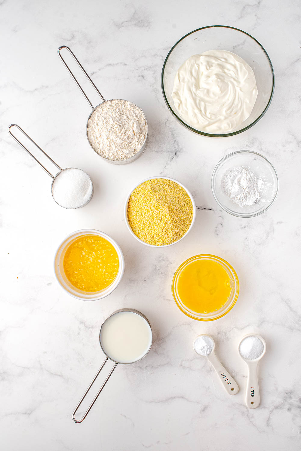 An overhead picture of all of the ingredients needed to make this cornbread recipe.