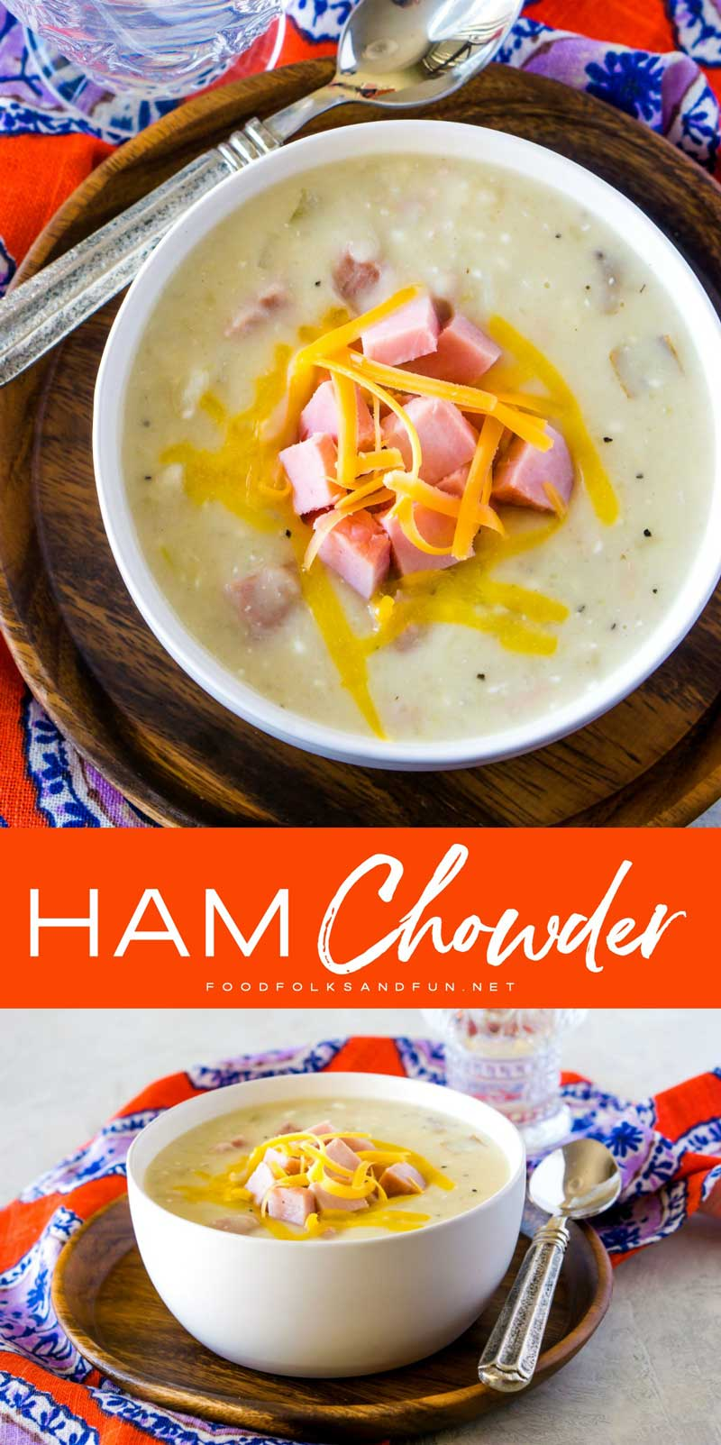 This Slow Cooker Ham Chowder is creamy, cheesy and so easy to make. It's a great way to turn leftover ham into a comforting weeknight dinner!  #dinner #ham #hamrecipe #leftoverham #easydinner #slowcooker #crockpot #Slowcookerrecipe #crockpotrecipe #foodfolksandfun via @foodfolksandfun