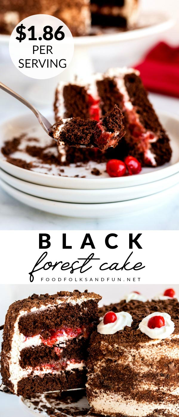 Picture collage of Black Forest Cake for Pinterest.