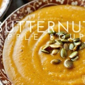 This Butternut Squash and Apple Soup is autumn in a bowl; vibrant butternut squash and crisp apple cider round out this tasty recipe.