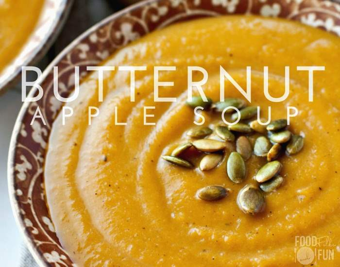 Butternut Squash and Apple Soup garnished with toasted pumpkin seeds.