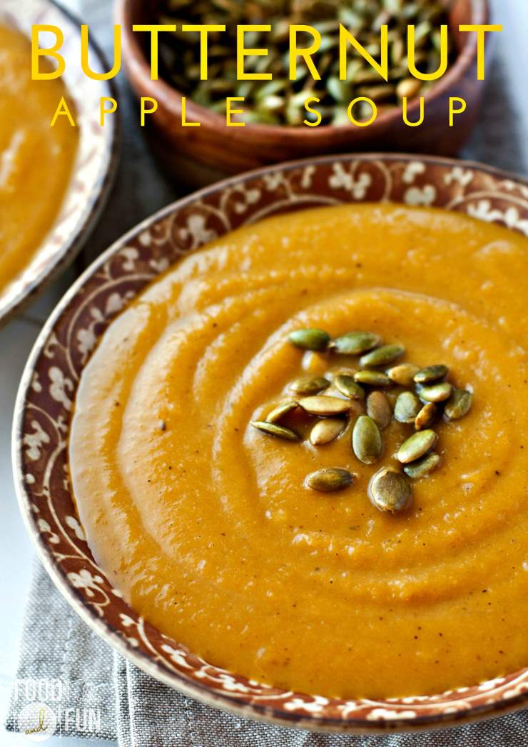 This Butternut Squash and Apple Soup is autumn in a bowl; vibrant butternut squash and crisp apple cider round out this tasty recipe. via @foodfolksandfun