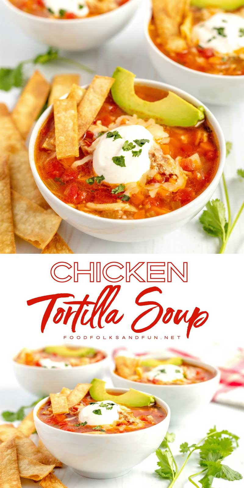 This Chicken Tortilla Soup is a delicious dinner that the entire family will love. It's full of veggies and sprinkled with the most delicious homemade tortilla strips. #chicken #soup #tortillas #dinner #easydinner #foodfolksandfun via @foodfolksandfun