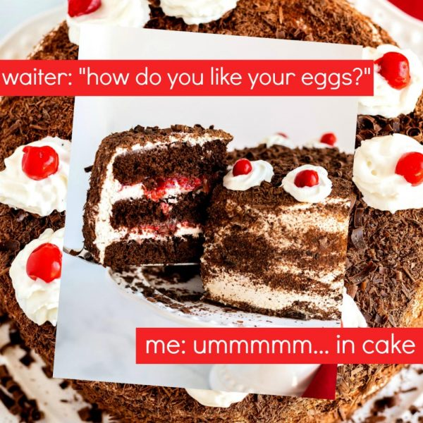 "Meme: ""How do you like your eggs?"" ""ummm...in cake"""