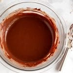 Stir the chocolate and coco powder mixture together until combined.