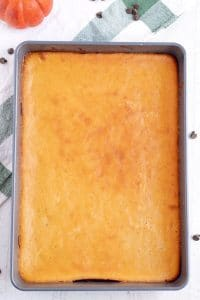 Bake until the pumpkin cheesecake layer is set, about 40 minutes.