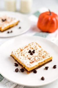 close up picture of pumpkin cheesecake bar.