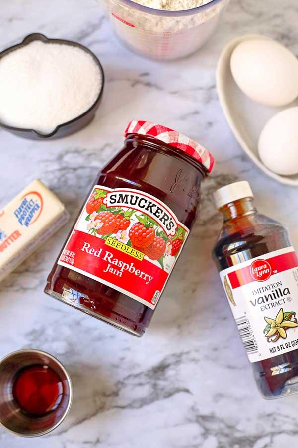 Ingredients for Jam Thumbprint Cookies