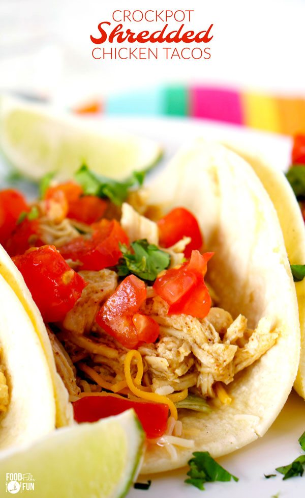 Slow cooker shredded chicken tacos