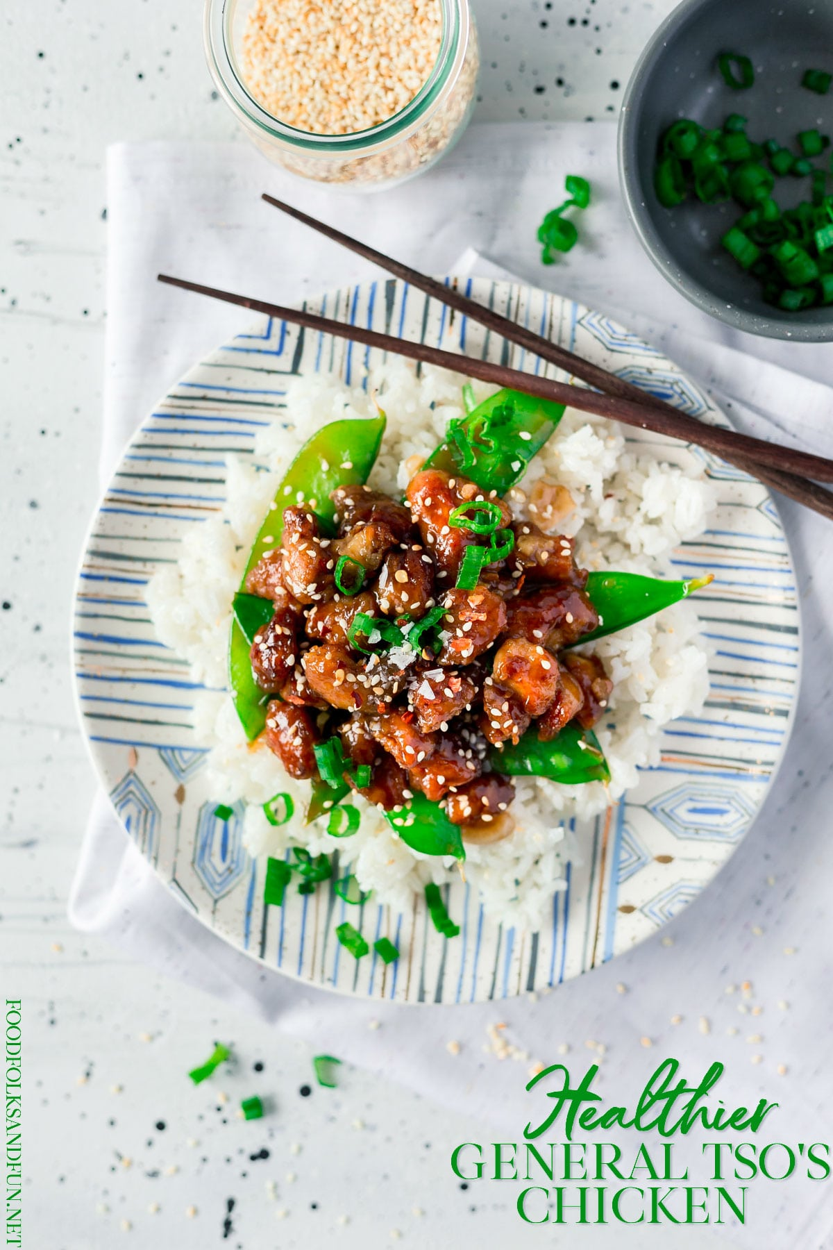 General Tso's Chicken is a takeout favorite that I've made a bit healthier. It's just as spicy, sweet, and zesty as your favorite Chinese takeout restaurant makes it! Make this General Tso Chicken recipe in just 30 minutes! via @foodfolksandfun