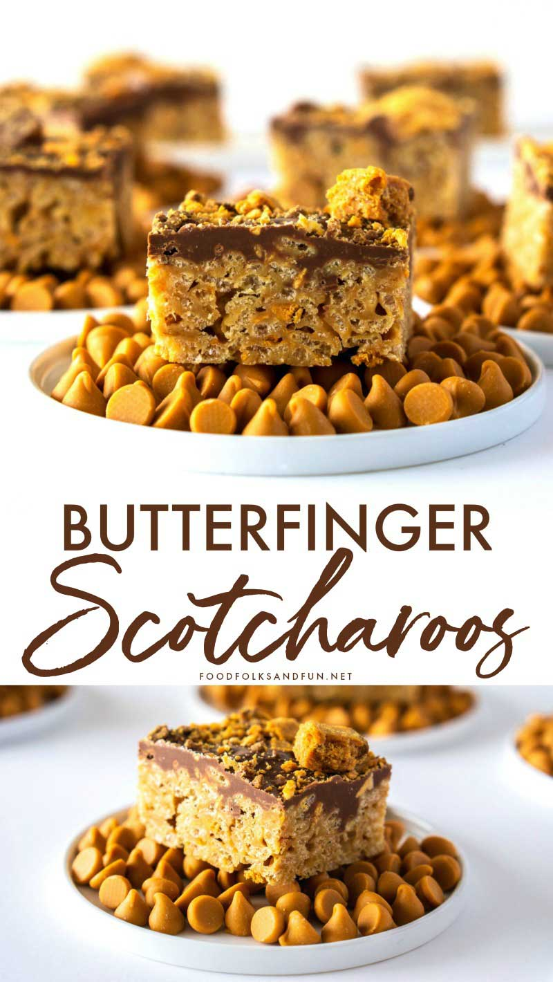 These Butterfinger Scotcheroos are chewy, sticky, and so chocolatey. The addition of crushed Butterfingers makes them truly irresistible! Grab the kids, because they'll love making these no-bake Chocolate Scotcheroos recipe with you! via @foodfolksandfun