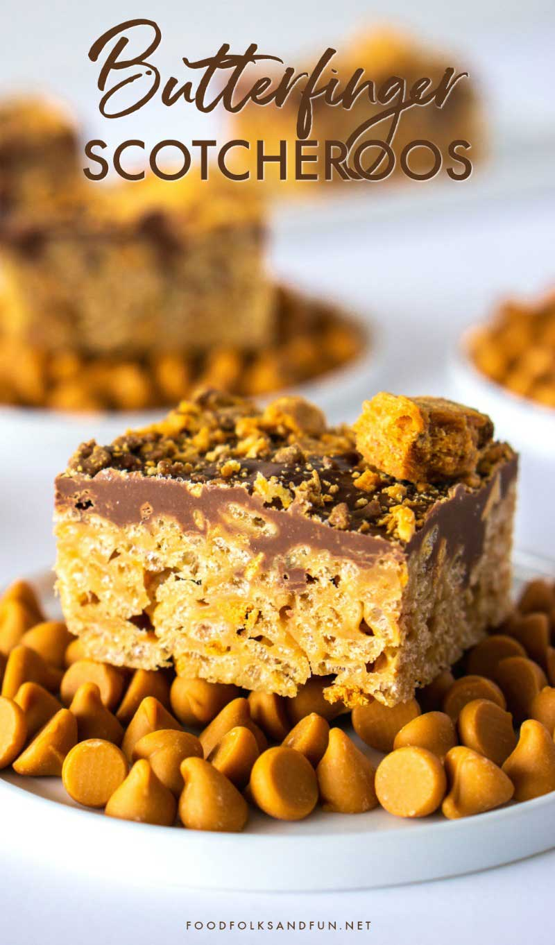 A close up of a piece of Butterfinger Scotcheroos on a plate