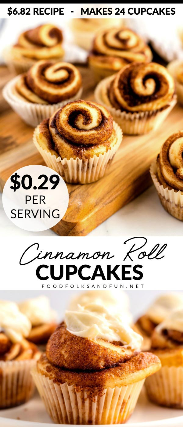 These Cinnamon Roll Cupcakes are perfect for breakfast, brunch, or even for birthday breakfasts! The recipe makes 24 and costs just $6.82 cents to make! via @foodfolksandfun