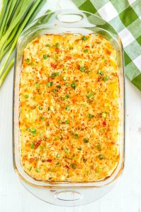 Overhead picture of the finished green chile cheesy potato casserole.