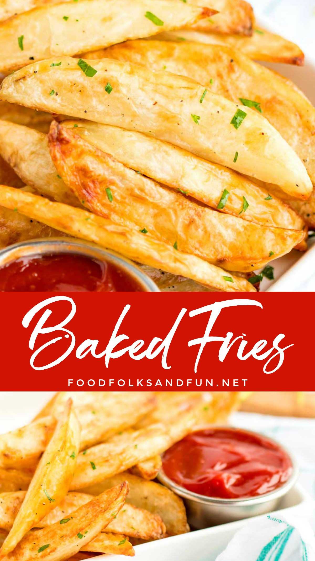 How to make Fries in the Oven with this crispy Oven Fries recipe that makes the best homemade oven baked fries every time! via @foodfolksandfun