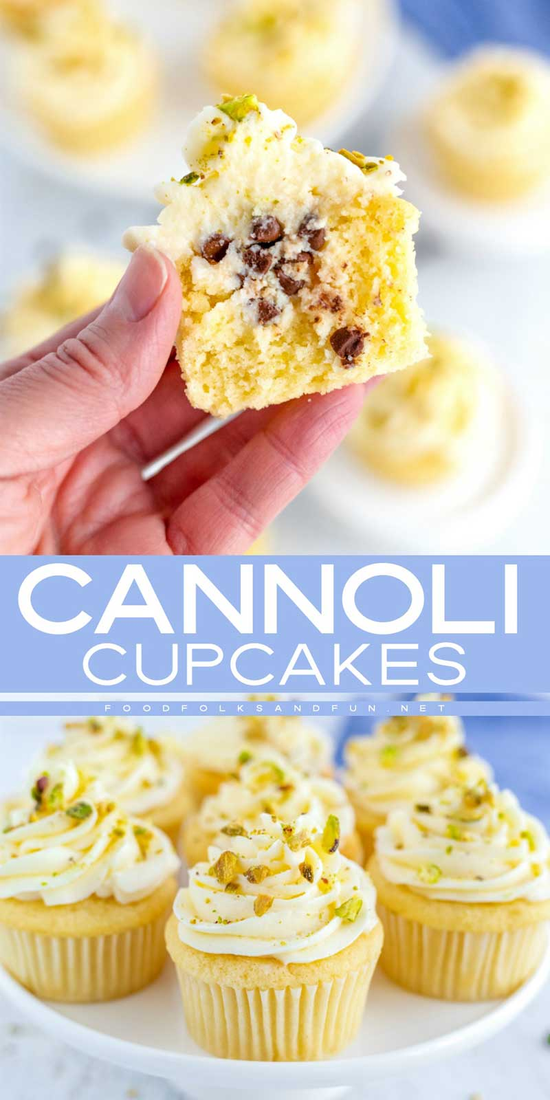 These Cannoli Cupcakes have all of the flavors of traditional cannoli, but packed into a cupcake! They're perfect for holidays and bake sales! #cupcakes #cupcakerecipe #cannoli #dessert #Italian #comfortfood #foodfolksandfun via @foodfolksandfun