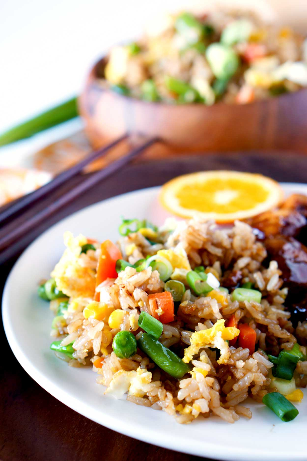 Fried Rice served with Orange Chicken