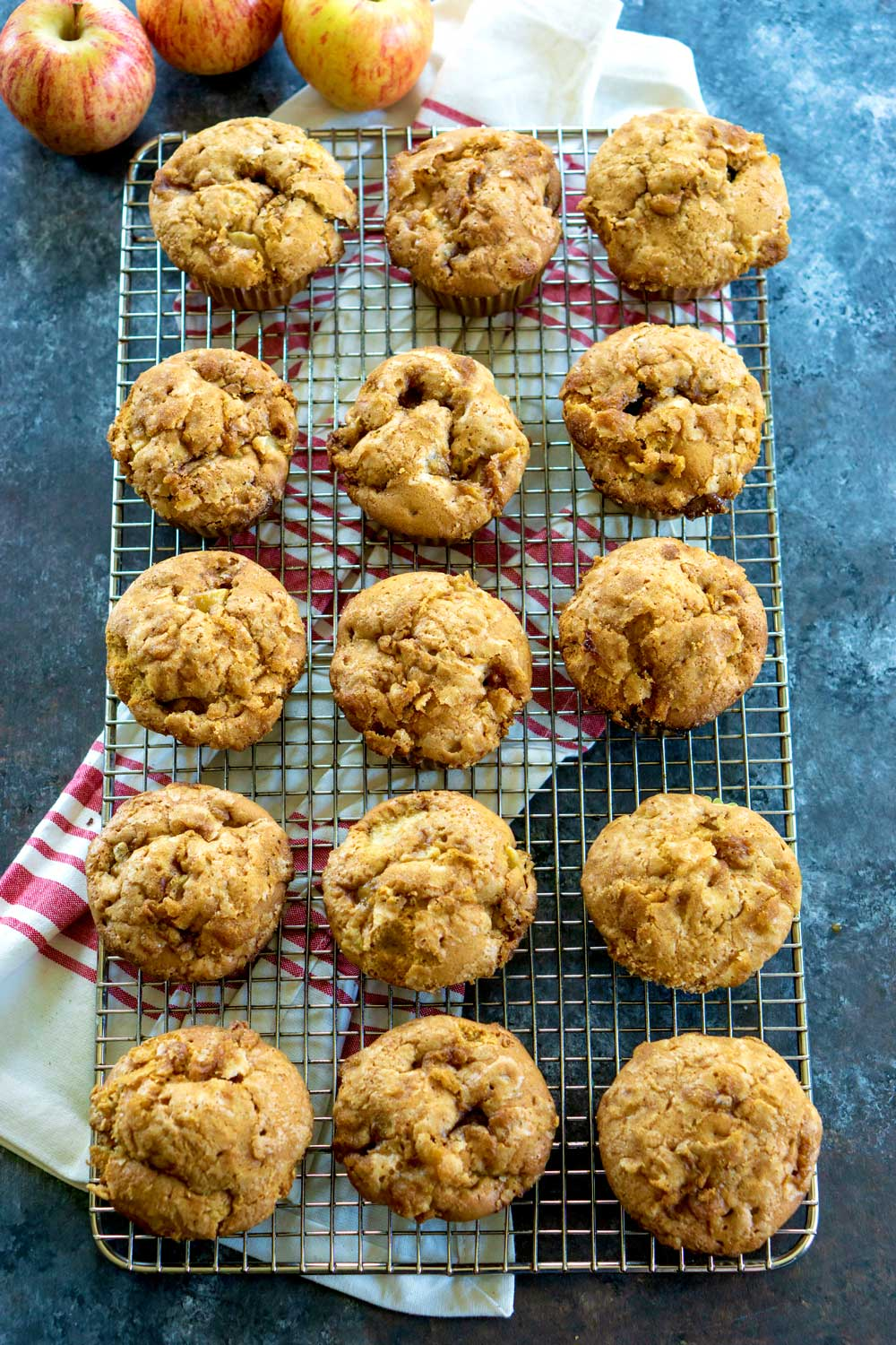 Apple cinnamon muffins on a wire rack
