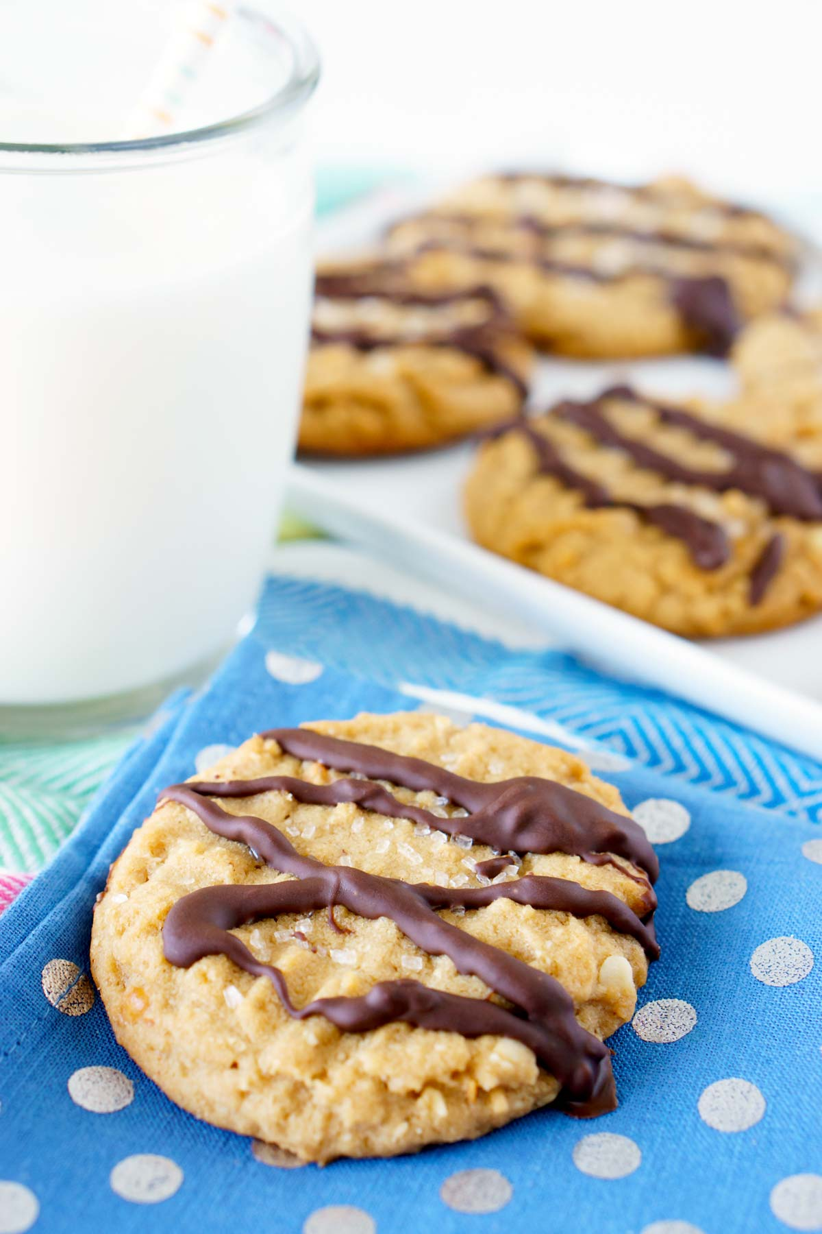 Warm Peanut Butter Cookies served with milk.
