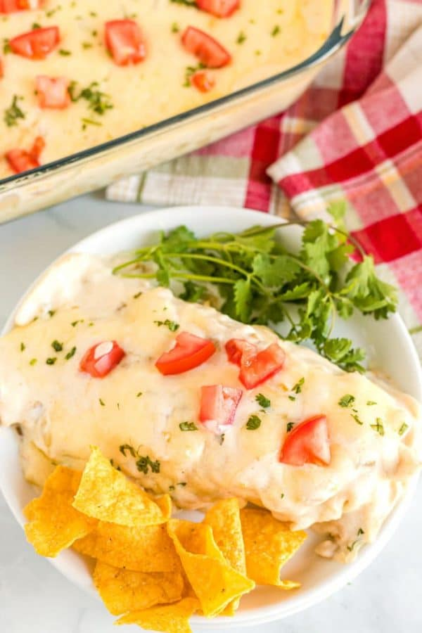 Chicken enchilada with a creamy green chile sauce that is made without condensed soup!