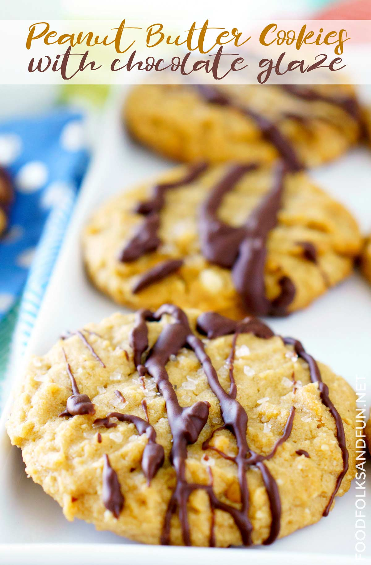 Soft, super-nutty Peanut Butter Cookies with Chocolate Drizzle