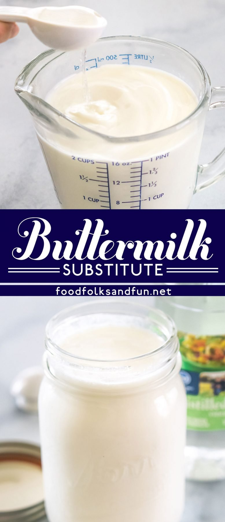 Here's an easy tutorial for How to Make Buttermilk Substitute, and all you need are just 2 ingredients! This substitute for buttermilk is perfect for making tender, flavorful baked goods.