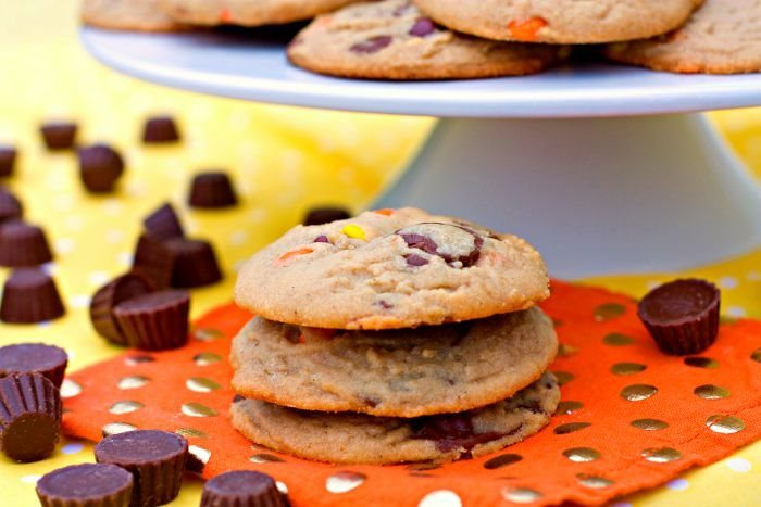 Big and Chewy loaded Peanut Butter Cookies in a stack