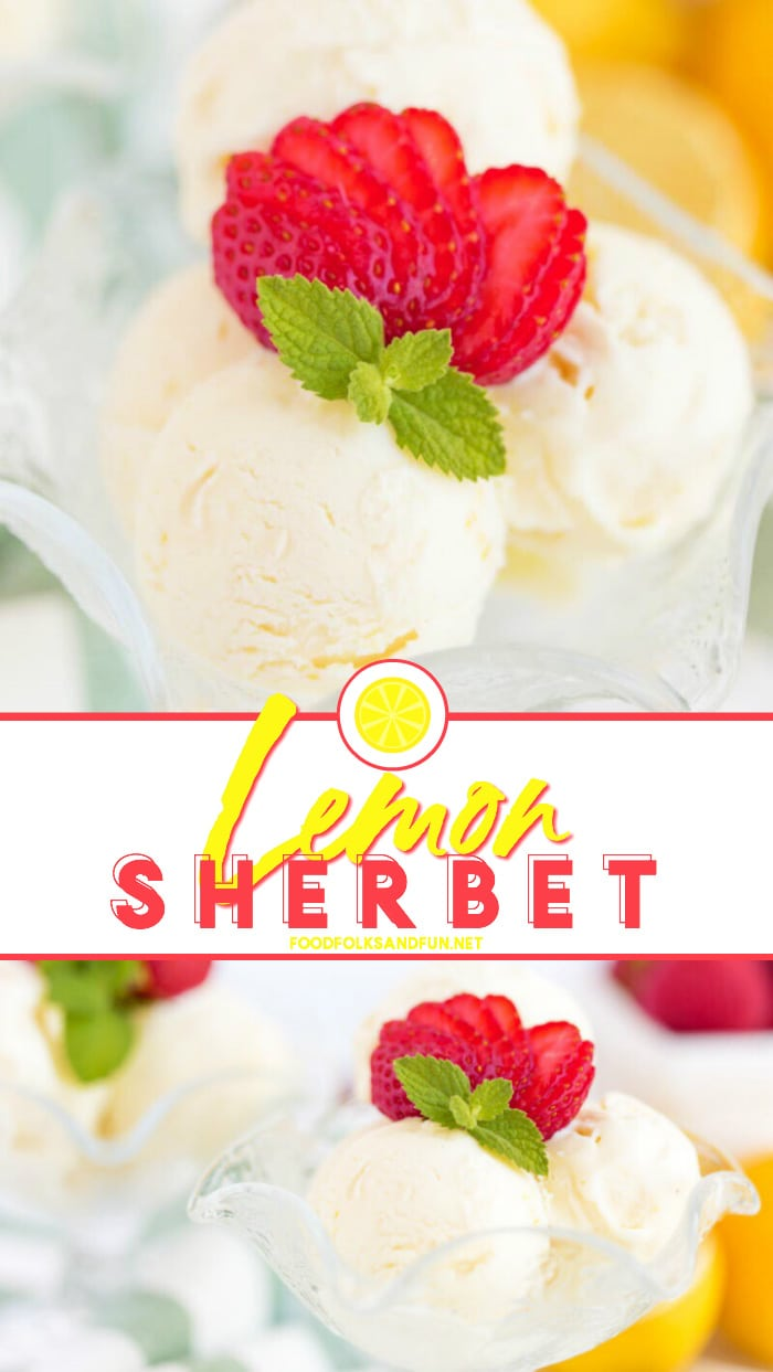 Creamy and vibrant Lemon Sherbet is a refreshing light treat. It's the cross between sorbet and ice cream, and it's easier to make than you think! #summer #summerrecipe #sherbet #lemon #lemonrecipe #recipe #recipeoftheday #dessert #dessertrecipe #foodfolksandfun via @foodfolksandfun