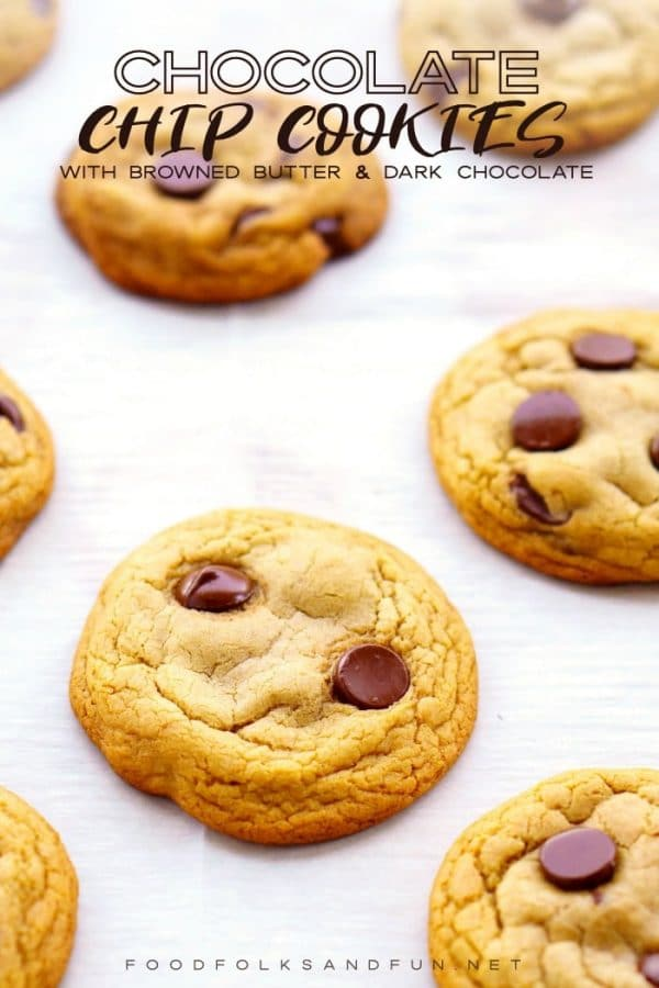 Perfect Chocolate Chip Cookies with text overlay for Pinterest.