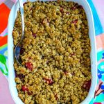 The finished berry crisp in a 9x13 inch pan.
