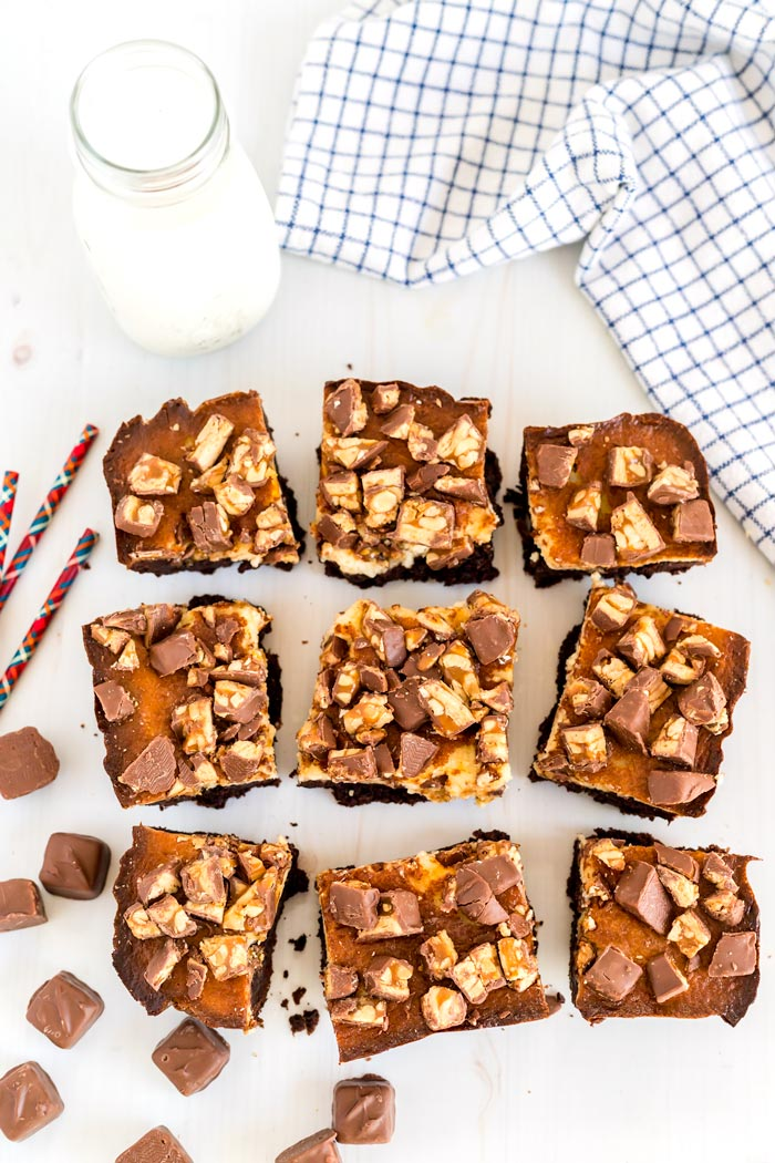 Brownies cut into 9 squares.