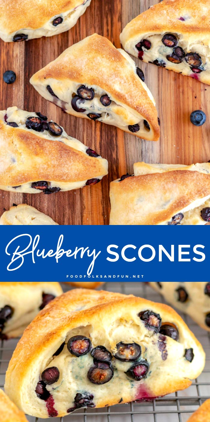 This is the best recipe for blueberry scones. They're completely made from scratch and perfectly studded with fresh or frozen blueberries.  via @foodfolksandfun