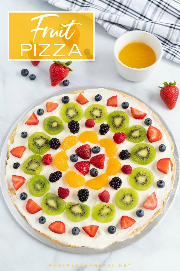 The finished fruit pizza before it gets a drizzle of the citrus glaze.