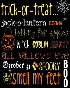 Halloween Subway Art free printable
