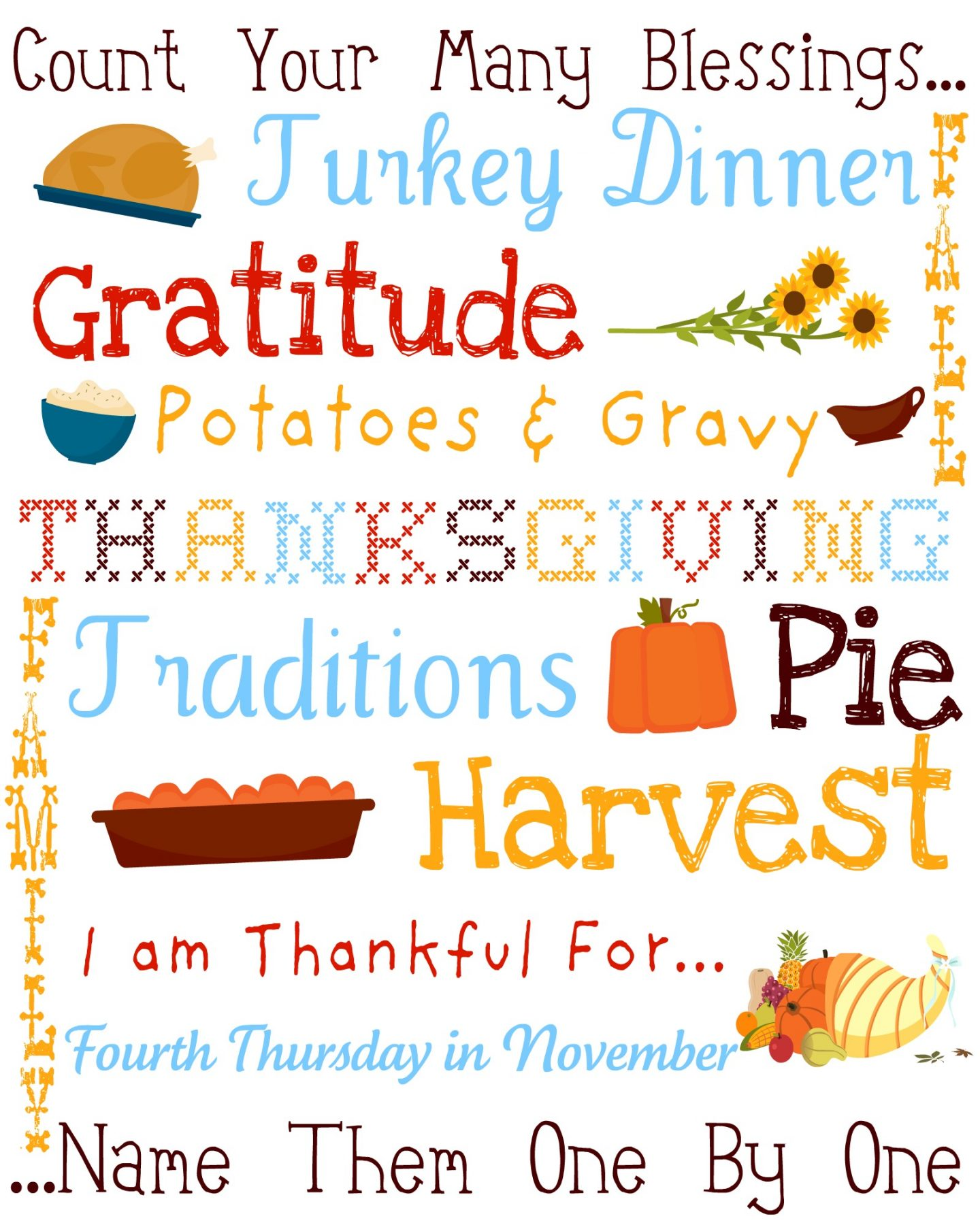 This Thanksgiving Subway Art is a beautiful and fun addition to your Thanksgiving decor. The best part is that it's a FREE download! via @foodfolksandfun