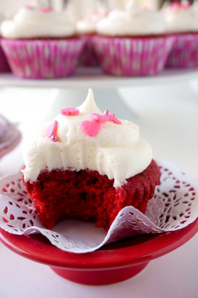Delicious homemade Red Velvet Cupcakes with Cream Cheese Frosting
