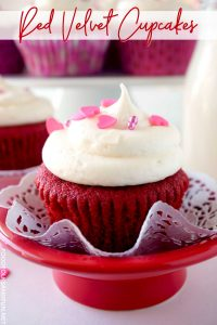 Close up picture of Red Velvet Cupcakes for Valentine's Day.