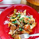 Sausage and Peppers pasta on a plate