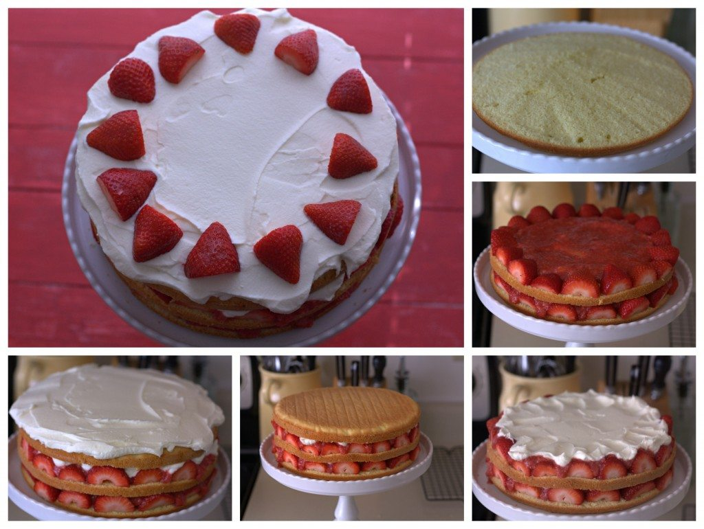 A collage of process shots for making Strawberry Cream Cake