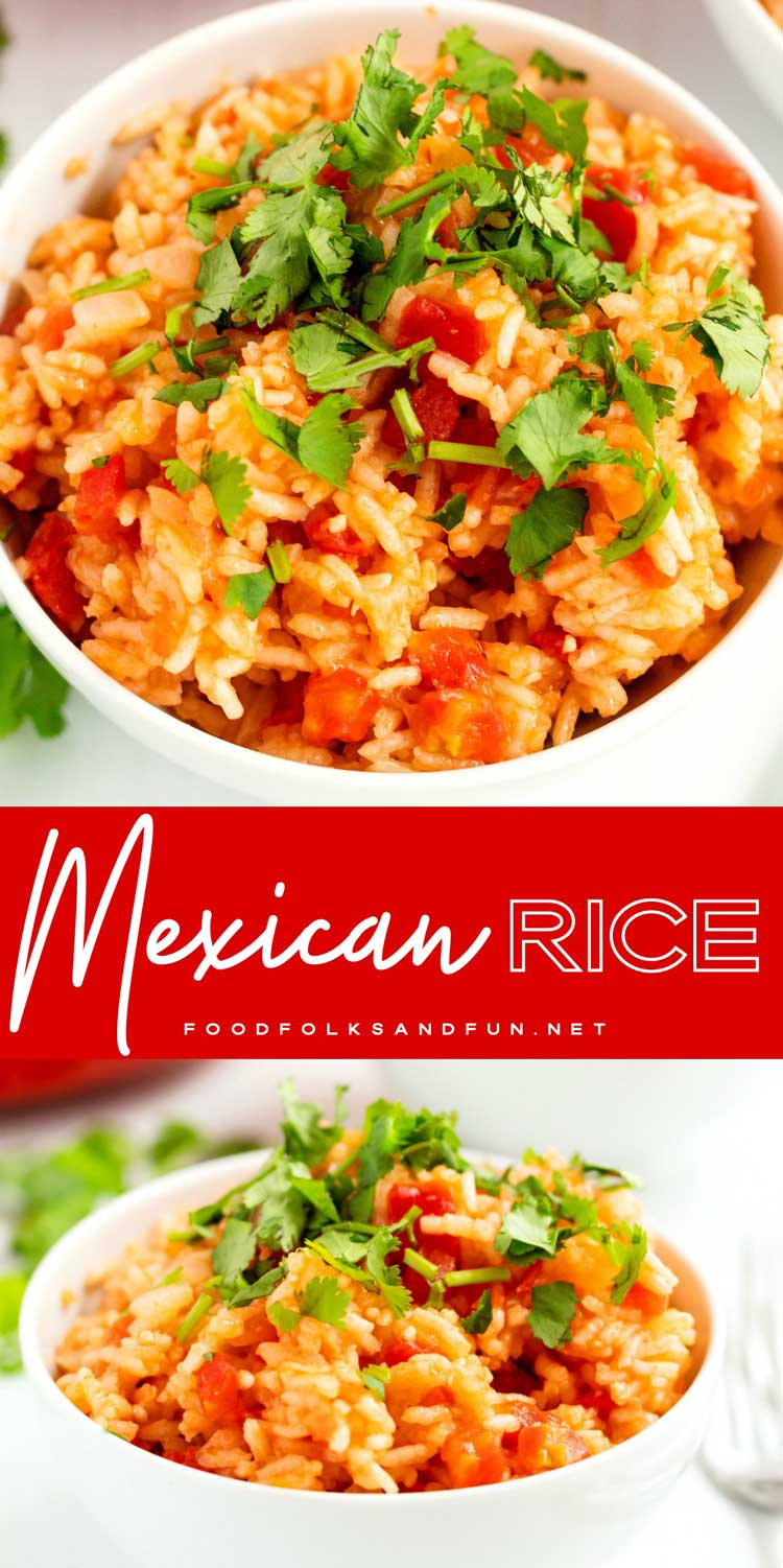 This quick and easy Mexican Rice recipe is the perfect compliment to any Mexican meal! It's restaurant-worthy and it will quickly become a family favorite!  #rice #sidedish #MexicanRecipe #easyrecipe #tomatoes #rotel #foodfolksandfun via @foodfolksandfun