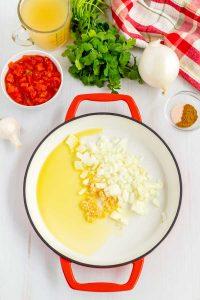 Sauté the onion and garlic.