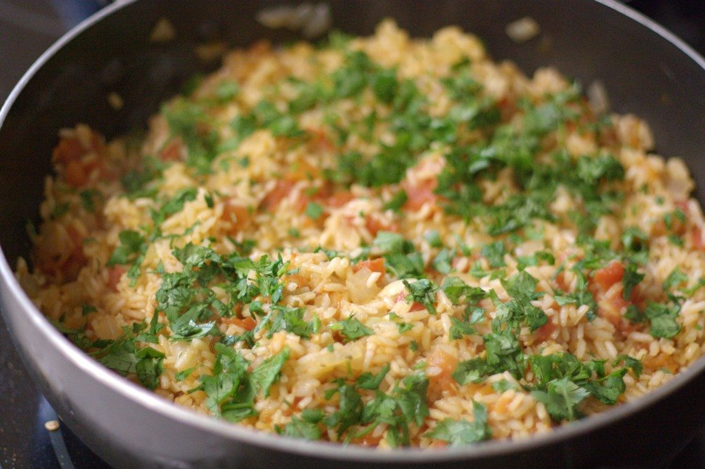 Easy Mexican Rice in a saucepan