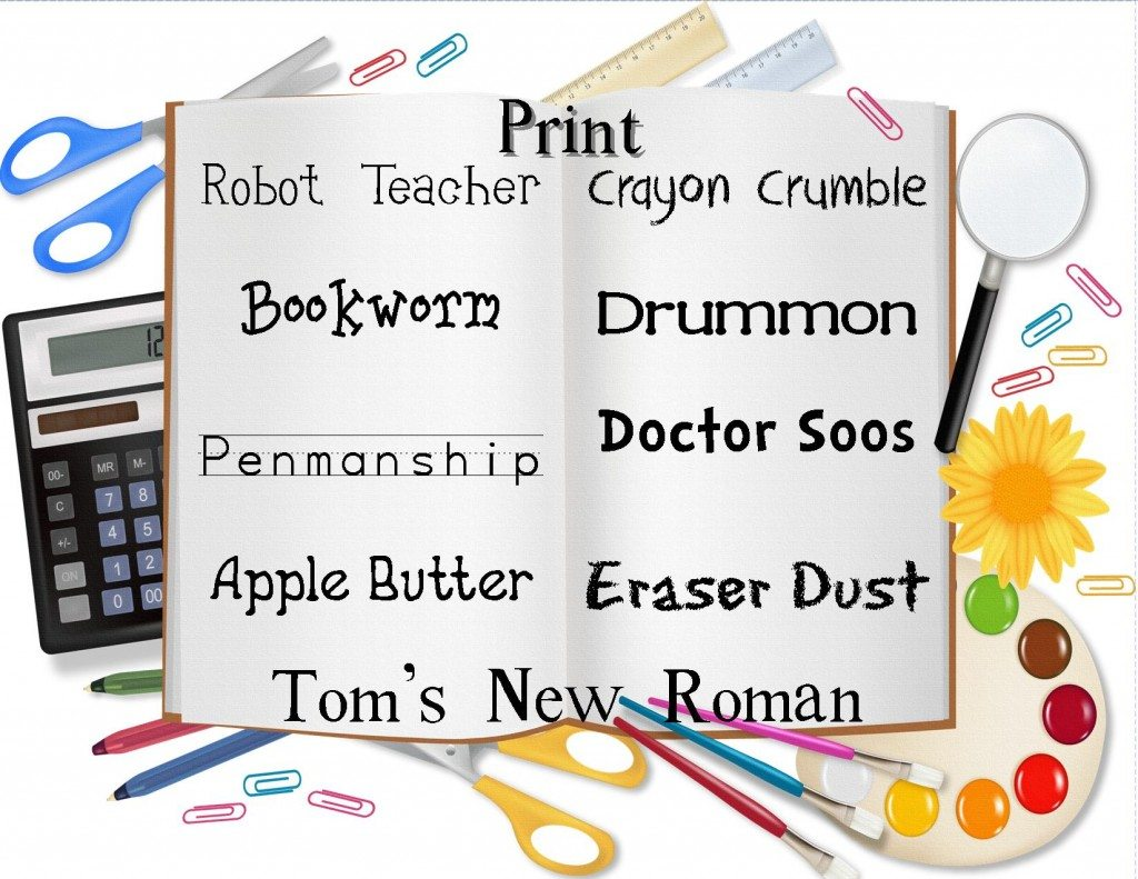 clip art for 25 free back to school fonts