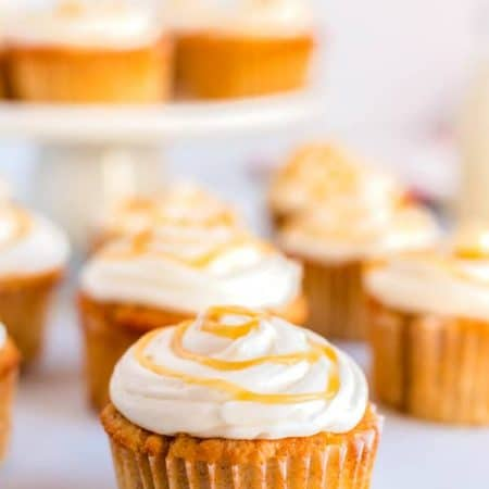 Caramel Apple Cupcakes on display.