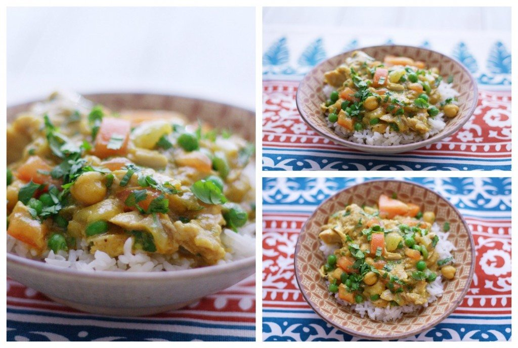 A collage of slow cooker chicken curry