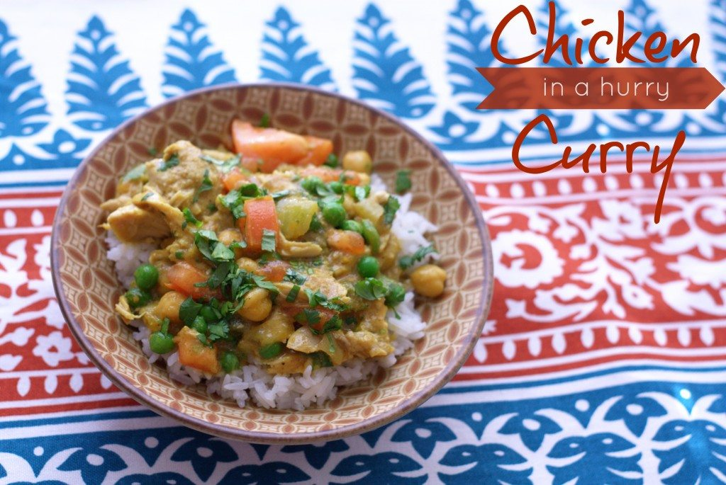 Slow Cooker Chicken Curry in a bowl with text overlay for Pinterest